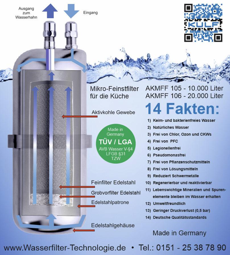 küche wasserfilter kulf keimfrei kohlefilter edelstahl für ... - Wasserfilter Küche